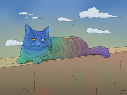Обои Разноцветный кот, by PHAZED