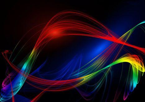 Обои Разноцветные текстурная абстракция на черном фоне