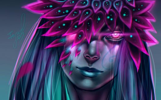 Обои Девушка - цветок с сиреневыми глазами, by Insaro
