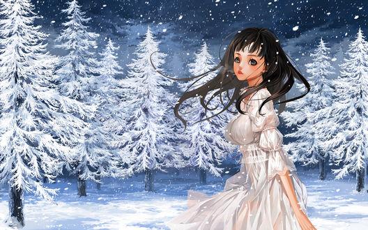 Обои Темноволосая девушка стоит в зимнем лесу под падающим снегом, by Justminor