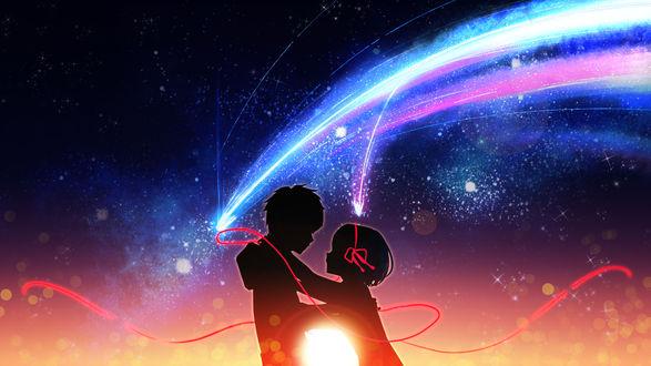 Обои Мицуха Миямизу / Mitsuha Miyamizu и Таки Тачибана / Taki Tachibana из аниме Твое имя / Kimi no Na wa, автор The Cold