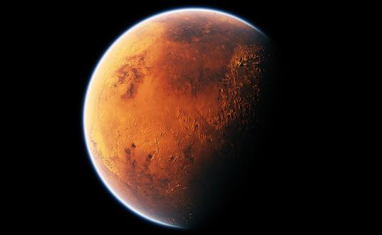 Обои Планета Марс на черном фоне