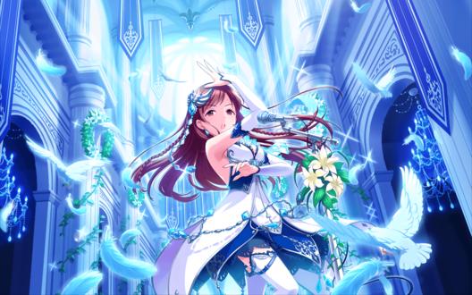 Обои Минами Нитта / Nitta Minami из аниме Идолмастер: Девушки-Золушки / Idolmaster / THE iDOLM@STER: Cinderella Girls в одеянии богини поет в светлом храме