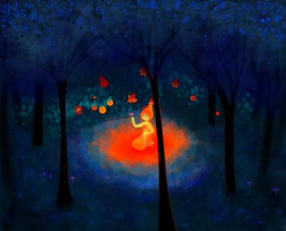 Обои Работа Flame of the Forest / Пламя леса, девочка сидит в таинственном лесу, by Dizziezebra