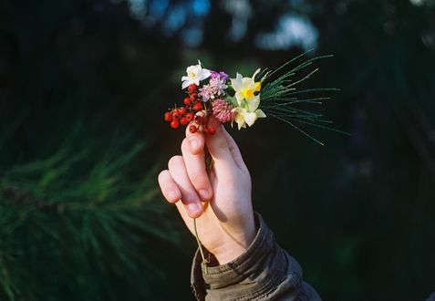 Обои В руке букетик цветов и веточки с ягодами, by Agustín Galeano