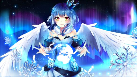 Обои Синеволосая девушка- ангел держит шар на весу, на фоне северного сияния, by SquChan