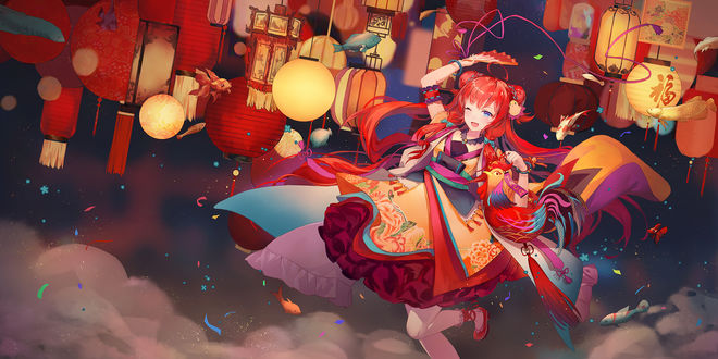 Обои Девушка танцует на фоне китайский фонариков, автор Сriin