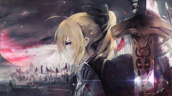 Обои Сейбер / Saber из аниме и игры Судьба: Ночь Схватки / Fate / Stay Night, автор Аoi Оgata