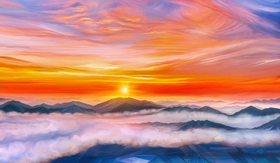 Обои Закат над горными вершинами, by exobiology