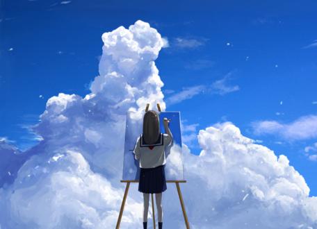 Обои Девочка рисует небо с облаками, стоя перед мольбертом