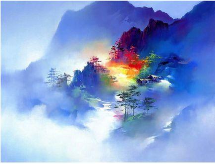 Обои Деревья на склонах гор, художник Кен Хонг Лунг