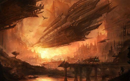 Обои Космический корабль с парусом в городе будущего