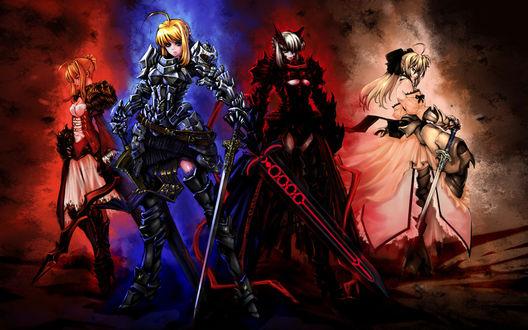 Обои Сейбер / Saber, Сейбер Альтер / Saber Alter / Dark Saber и Сэйбер Лили / Сейбер Лилия / Saber Lily из игр, новелл и аниме Fate / Extra, Stay Night, Unlimited Codes, автор оригинала Jian Huang