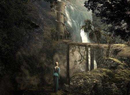 Обои Девушка стоит перед замком, by Серега Сергеев