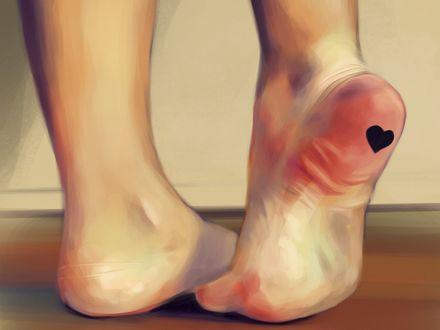 Обои Ножки девушки с сердечком на пятке, , by Gabriel Carrasquillo
