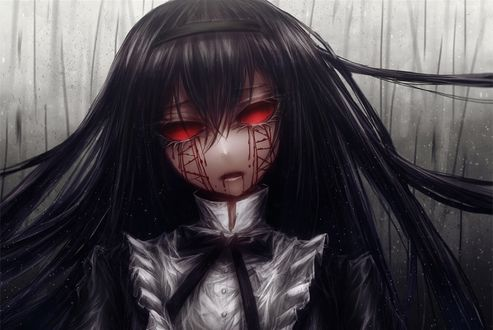 Обои Девочка анимэ с красными глазами и шрамами
