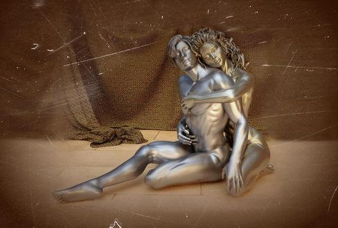 Обои Скульптура влюбленных парня и девушки