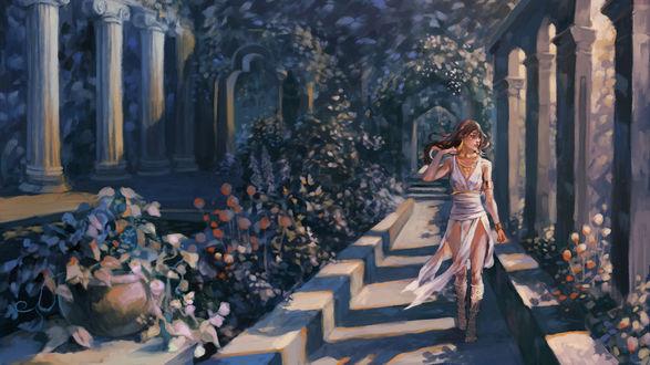 Обои Девушка гуляет в саду, автор Iya-chen