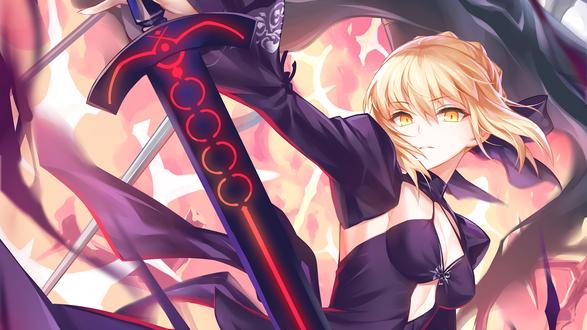 Обои Сейбер Альтер / Saber Alter / Dark Saber из визуальной новеллы Fate / stay night с мечом в руке, автор оригинала Kousaki Rui