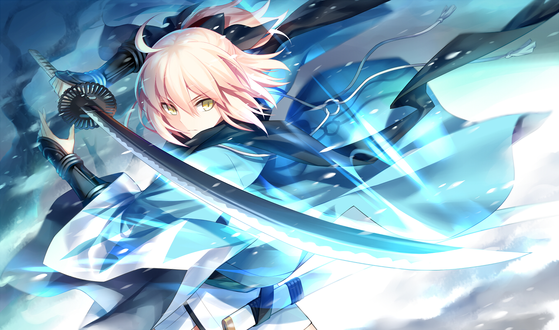 Обои Сакура Сейбер / Sakura Saber из манги Fate / KOHA-ACE и сетевой RPG игры Fate / Grand Order атакует катаной, автор Kousaki