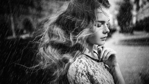 Обои Девушка под дождем, фотограф Sergey Piltnik
