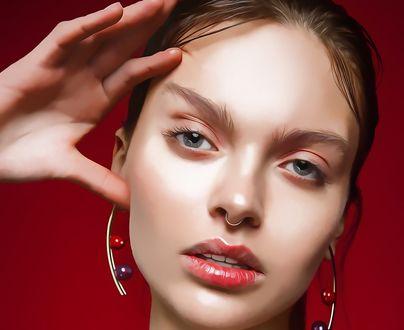 Обои Портрет девушки с пирсингом в носу, by amit salvi