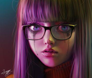 Обои Заплаканная девушка в очках, by Lemon Cat