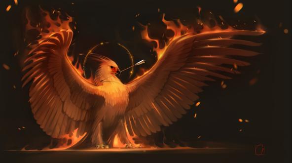 Обои Птица феникс со стрелой в клюве, by GaudiBuendia
