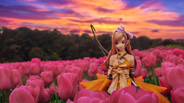 Обои Девушка-кукла стоит среди розовых тюльпанов, by Ateens Chen