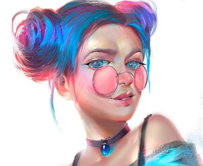 Обои Девушка с голубыми волосами в розовых очках, by Sapphire ART