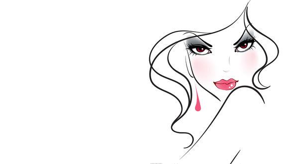 Обои Нарисованная девушка с красными глазами, на белом фоне