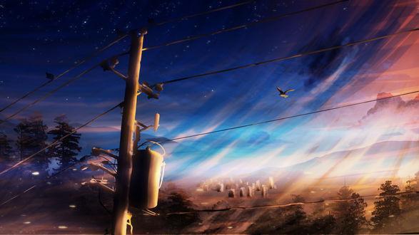 Обои Линии электропередач в лучах закатного солнца, by Y_Y