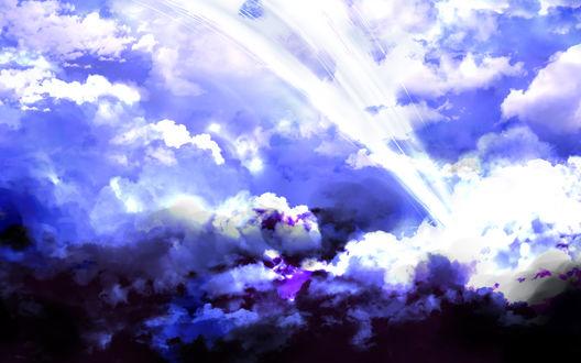 Обои Белые лучи света проходят сквозь облака, by saya
