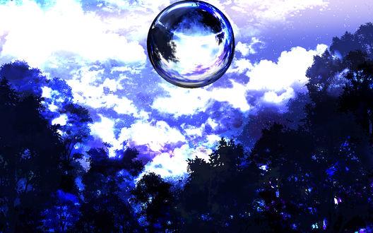 Обои Прозрачный шар завис в небе над верхушками деревьев, by saya