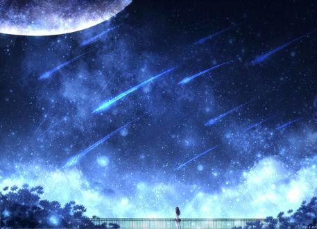 Обои Девушка стоит на мосту, на фоне ночного неба с падающими звездами, by CZY
