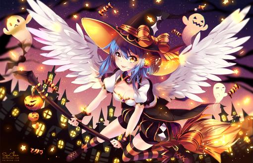 Обои Синеволосая девушка-ангел в шляпе сидит на метле на фоне приведений, тыкв и домов, by SquChan