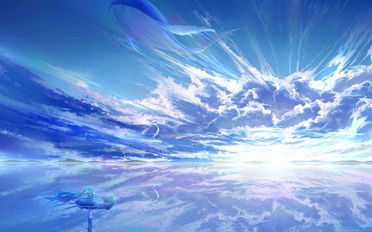 Обои Вокалоид Хатсуне Мику / Vocaloid Hatsune Miku смотрит на кита парящего в небе
