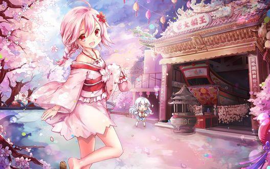 Обои Девочка в кимоно с розовыми волосами идет в храм во время цветения сакуры