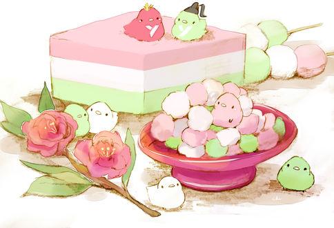 Обои Птички, веточка персика и сладости, by チャイ