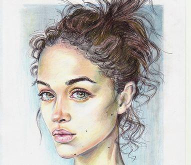 Обои Симпатичная нарисованная девушка, by Marina Romantsova