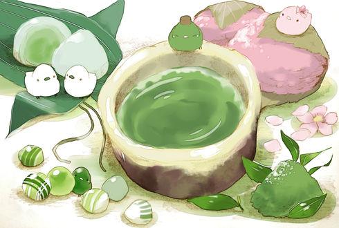 Обои Птички, чашка зеленого чая и сладкие пирожки, by チャイ