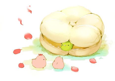 Обои Птички и сладкая булочка, by チャイ