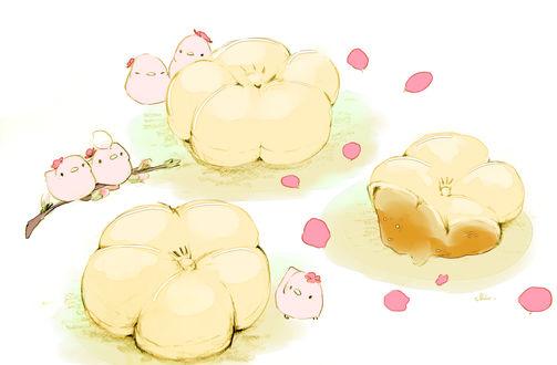 Обои Птички и сладкие булочки в виде цветов персика, by チャイ