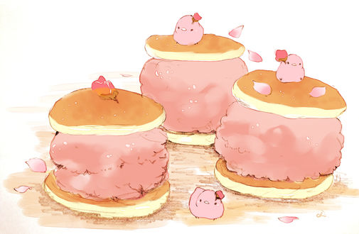 Обои Птички и сладкие булочки, by チャイ