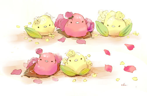 Обои Птички, лимончики и персики, by チャイ