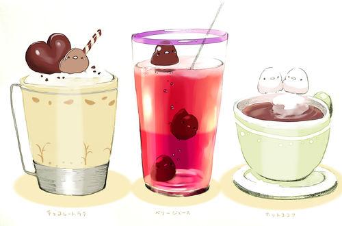 Обои Птички, стакан капучино, чашка чая и стакан с соком, by チャイ