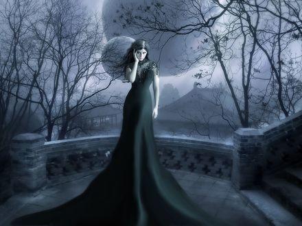 Обои Девушка в длинном темном платье, стоит на площадке, у каменной лестницы, на фоне деревьев, неба, луны и домов