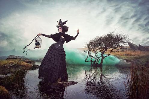 Обои Девушка в темной одежде, с украшениями на волосах, стоит на небольшом островке в воде, держа в руке клетку с розами, by Carri Angel