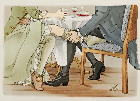 Обои Мужчина и девушка пьют вино, девушка элегантно заигрывает ножкой с мужчиной