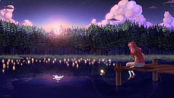 Обои Девушка сидит на мостке у воды со светлячками